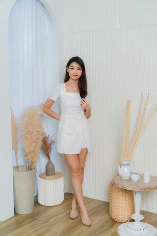 Shannon Square Neckline Romper In White